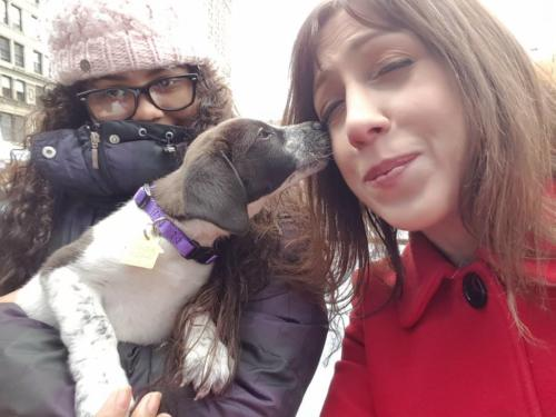 Susan and sweet puppy at Petco Foundation All For Love Adoption Rally in Union Square