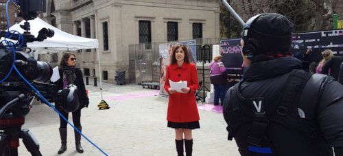 Susan anchors Petco FB Live from Union Sq Park